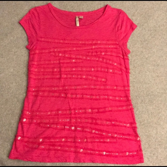 LC Lauren Conrad Tops - LC Lauren Conrad bright pink chiffon sequin tee Sm